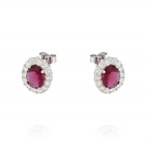 Royal earrings with oval stone – red stone