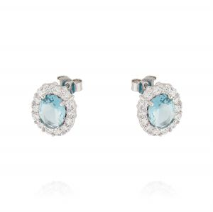 Royal earrings with oval stone – light blue stone