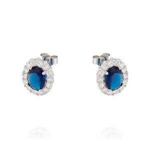 Royal earrings with oval stone – blue stone