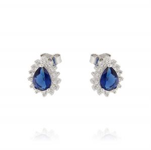 Royal earrings with drop stone – blue stone