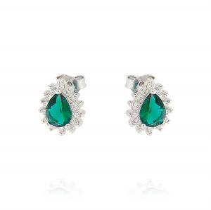 Royal earrings with drop stone – green stone