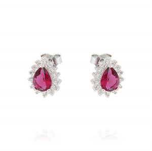 Royal earrings with drop stone – red stone