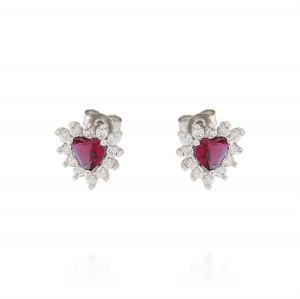 Royal earrings with heart stone – red stone