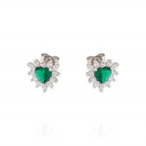 Orecchini Royal a cuore – pietra verde