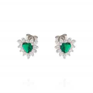 Royal earrings with heart stone – green stone