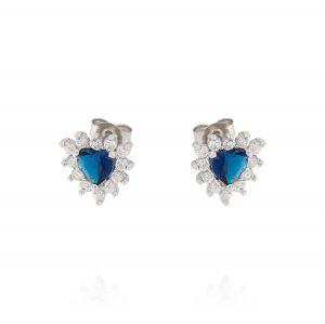 Orecchini Royal a cuore – pietra blu