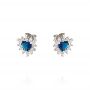 Royal earrings with heart stone – blue stone