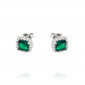 Orecchini Royal quadrati – pietra verde
