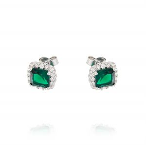 Royal earrings with square stone – green stone