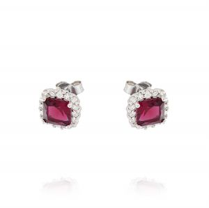 Royal earrings with square stone – red stone