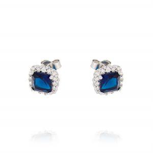 Orecchini Royal quadrati – pietra blu