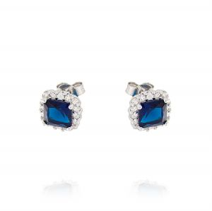 Royal earrings with square stone – blue stone