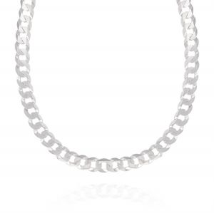 Flat curb chain necklace - 7 mm