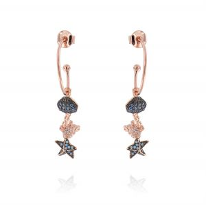 Hoop earrings with summer pendants with cubic zirconia - rosé plated