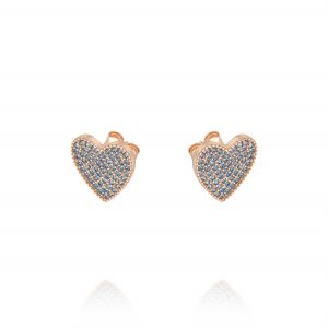 Heart earrings with light blue cubic zirconia - rosé plated