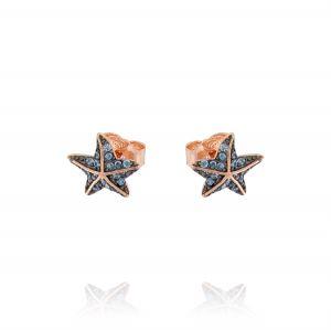 Orecchini stella marina con zirconi azzurri - placcato rosé
