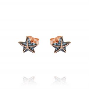 Starfish earrings with colored cubic zirconia - rosé plated