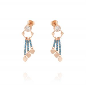 Earrings with 3 pendant bars with turquoise cubic zirconia and hearts - rosé plated