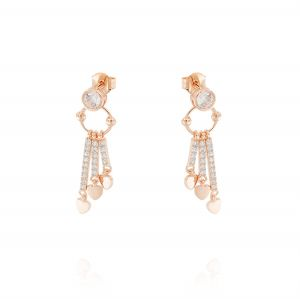 Earrings with 3 pendant bars with white cubic zirconia and hearts - rosé plated