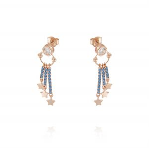 Earrings with 3 pendant bars with turquoise cubic zirconia and stars - rosé plated