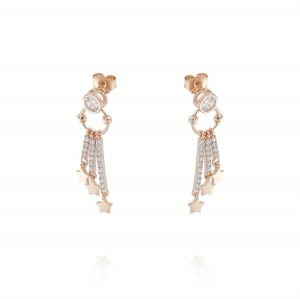 Earrings with 3 pendant bars with white cubic zirconia and stars - rosé plated