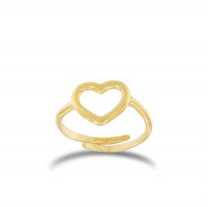Anello cuore a filo piccolo regolabile - placcato oro