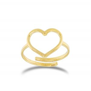 Adaptable wire heart ring - gold plated - medium size