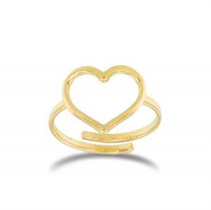 Anello cuore a filo medio regolabile - placcato oro