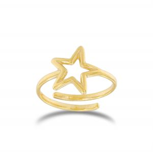 Adaptable wire star ring - gold plated