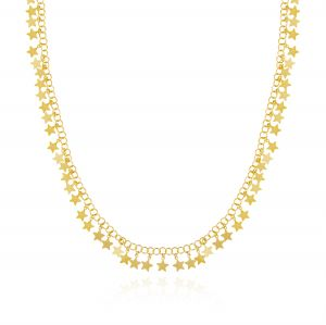 Long necklace with glossy pendant stars - gold plated