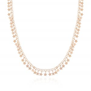 Long necklace with glossy pendant stars - rosé plated