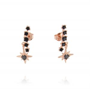 North star earrings with black cubic zirconia - rosé plated