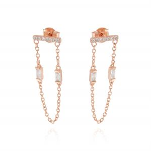 Horizontal board earrings with pendant chain and 2 cubic zirconia - rosé plated