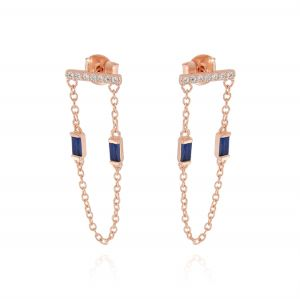Horizontal board earrings with pendant chain and 2 blue cubic zirconia - rosé plated