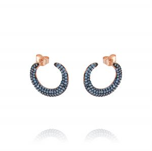 Semicircle earrings with blue cubic zirconia - plated rosé