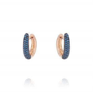 Drop earrings with blue cubic zirconia - rosé plated