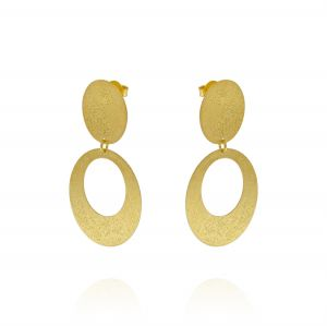 Pendant earrings with frosted ovals - gold plated