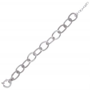 Bracelet with fope chains ring alternated with glossy ring