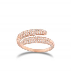 Contrariè ring with white cubic zirconia - rosé plated