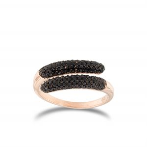 Contrariè ring with black cubic zirconia - rosé plated