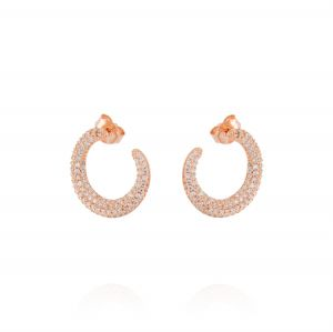 Semicircle earrings with white cubic zirconia - plated rosé