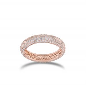 Ring with white cubic zirconia - rosé plated