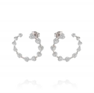 Open circle earrings with hearts and cubic zirconia