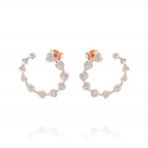 Open circle earrings with hearts and cubic zirconia - rosé plated