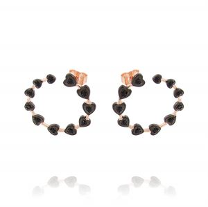 Open circle earrings with hearts and black cubic zirconia - rosé plated