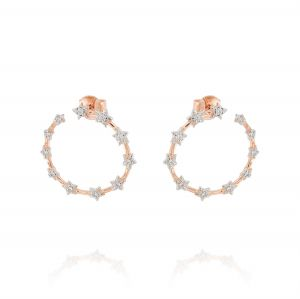 Open circle earrings with stars and cubic zirconia - rosé plated