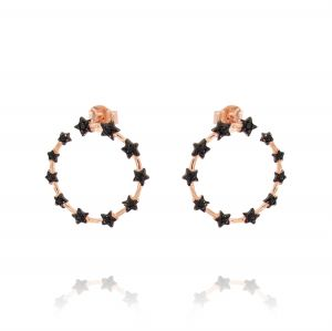 Open circle earrings with stars and black cubic zirconia - rosé plated