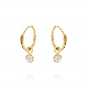 Hoop earrings with pendant cubic zirconia - gold plated