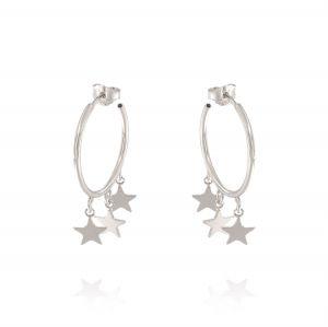 Orecchini cerchietto con tre stelle pendenti