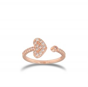 Open ring with cubic zirconia heart - rosé plated